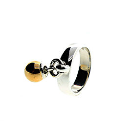 Tiffany & Co. 18K Gold Dangle Ball with Silver Ring