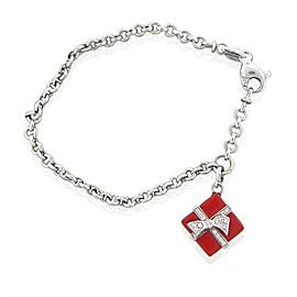 Roberto Coin Diamond 18 K White Gold Red Enamel Charm Bracelet