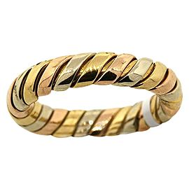 Bulgari 18k Yellow Gold & White Gold Tubogas Weave Rose Wedding Band Ring