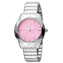 Just Cavalli Women's Rock Sangallo Pink Dial Stainless Steel Watch