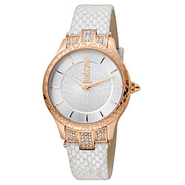 Just Cavalli Women's Animal Chantilly Silver Dial Calfskin Leather Watch