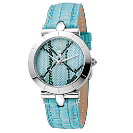 Just Cavalli Women's Animal Devore Ice Blue Dial Calfskin leather Watch
