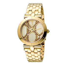 Just Cavalli Women's Animal Devore Champagne Dial Stainless Steel Watch