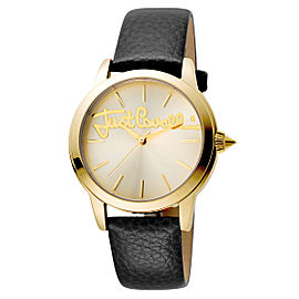 Just Cavalli Women's Logo Gold Dial Calfskin Leather Watch