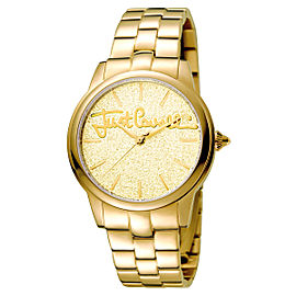 Just Cavalli Women's Glam Chic Mohair Gold Dial Stainless Steel Watch