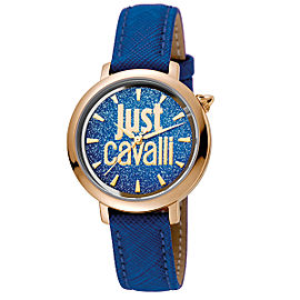 Just Cavalli Women's Logo Logomania Blue Dial Calfskin Leather Watch