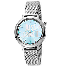 Just Cavalli Women's Logo Ice Blue Dial Stainless Steel Watch