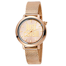Just Cavalli Women's Logo Rose Gold Dial Stainless Steel Watch
