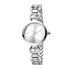 Just Cavalli Women's Logo Macrame Silver Dial Stainless Steel Watch