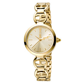 Just Cavalli Women's Logo Macrame Gold Dial Stainless Steel Watch