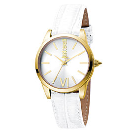 Just Cavalli Women's Relaxed Velvet Silver Dial Calfskin Leather Watch