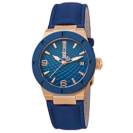 Just Cavalli Women's Rock D.Blue Dial Calfskin Leather Watch