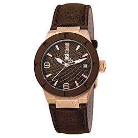 Just Cavalli Women's Rock Brown Dial Calfskin Leather Watch