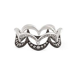 Jado Crown Ebony Ivory Duo 18k White Gold with Rhodium Plating Diamonds Ring