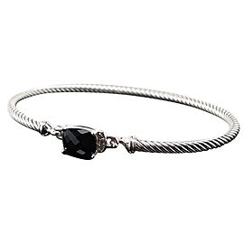 David Yurman 3mm Petite Wheaton Black Onyx with Diamonds Cable Bracelet