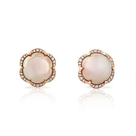 Jado Crown Mabe 18k Rose Gold Diamonds, Mabe Cultured Pearls Earrings