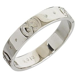 Gucci 18K White Gold 1P Diamond ICON Band Ring