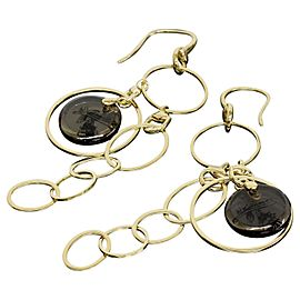Gucci 18K Yellow Gold Circle Dangle Drop Chain Link Earrings
