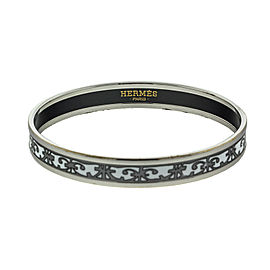 Hermes Printed Enemal White and Grey Cuff