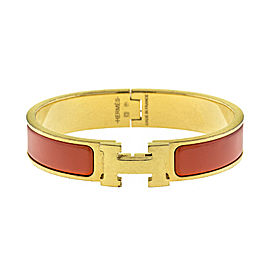 Hermes Classic Orange Enemal H Clic Clac Bangle Gold Tone