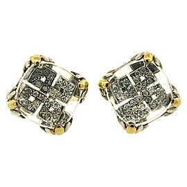 John Hardy 925 Sterling Silver 18k Gold Batu Lens Pave Diamond Earrings