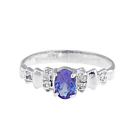 14K White Gold Synthetic Sapphire and 0.06ct. Diamonds Ring Size 6.5