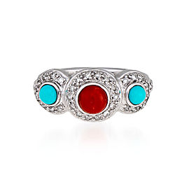 Le Vian Certified Pre-Owned Robin's Egg Turquoise and Coral Ring
