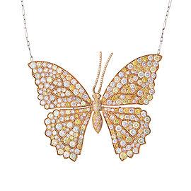 Fancy Color Diamond Butterfly Necklace