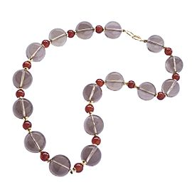 Goshwara One of a Kind 18k Yellow Gold Smoly Quartz, Carnelian beads Necklace