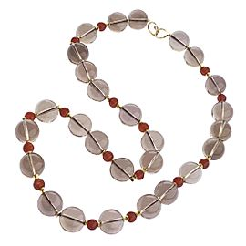 Goshwara One of a Kind 18k Yellow Gold Smoky Quartz, Carnelian, Rondelles Necklace