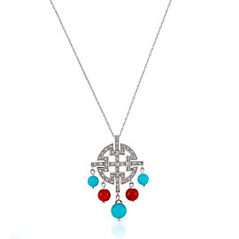 Le Vian Certified Pre-Owned Coral, Robin's Egg Turquoise, and Vanilla Diamonds Pendant set in 14k Vanilla Gold