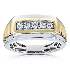 Mens Ring Channel Round Diamonds 1/4 Carat (ctw) in 10k Two Tone Gold