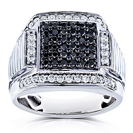Mens Ring Square Black Diamond Pave 1 Carat (ctw) in 10k White Gold
