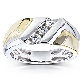 Mens Ring Diagonal Channel Round Diamonds 1/4 Carat (ctw) in 10k Two Tone Gold