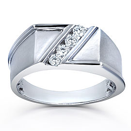 Men's Ring Diagonal Tension-Set Diamond 1/4ct TDW in 10k White Gold