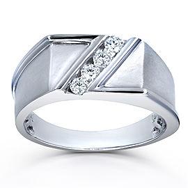 Men's Ring Diagonal Tension-Set Diamond 1/4ct TDW in 10k White Gold