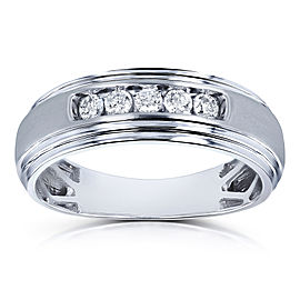 10k White Gold 1/4ct TDW Channel Diamond Men's Ring