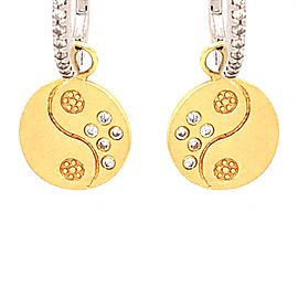 Meira T 14k Two-Tone Gold Diamond Hoop and Charm Earrings