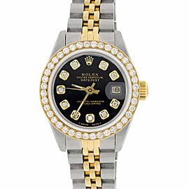 Rolex Datejust Ladies 2-Tone 18K Gold/SS 26mm Watch with Black Dial & Diamond Bezel