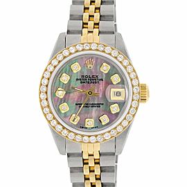Rolex Datejust Ladies 2-Tone 18K Gold/SS 26mm Watch with Tahitian MOP Dial & Diamond Bezel