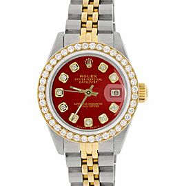 Rolex Datejust Ladies 2-Tone 18K Gold/SS 26mm Watch with Vignette Red Dial & Diamond Bezel