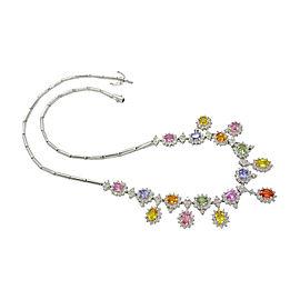 14K White Gold 10.85ct Sapphire, Tanzanite & Diamond Dangle Necklace