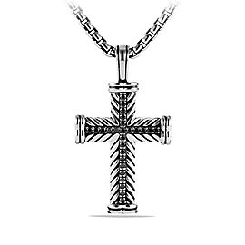 David Yurman Sterling Silver & 0.65ct Black Diamond Chevron Cross Necklace
