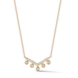Yellow Gold Lulu Jack Bezel Set V Necklace