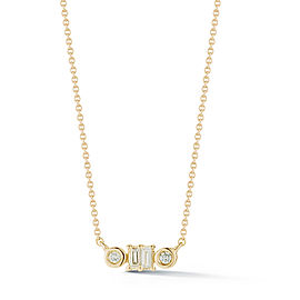 Yellow Gold Sadie Pearl Baguette and Bezel Necklace