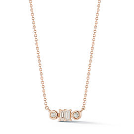 Rose Gold Sadie Pearl Baguette and Bezel Necklace