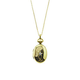 "Monica Rich Kosann Yellow Gold Petite Oval Star Locket W/ .32ct Center Diamond Accent on 17"" Chain"