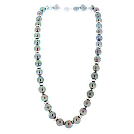 Tahitian Black Pearls and 4.00 Carat Total Diamond Roundel Necklace