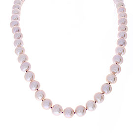 Lavender Cultured Pearls and Diamond 14 Karat White Gold Necklace