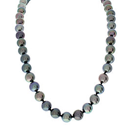 Tahitian Black Pearl and Diamond 14 Karat White Gold Necklace